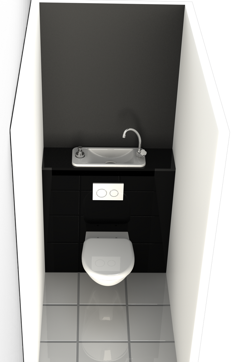 ... Rendering Of WiCi Next Space Saving Wall Mounted Toilets With Compact  Hand Wash Basin