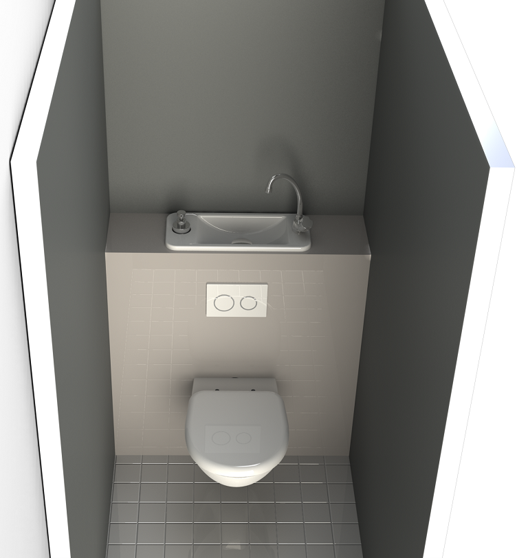 Space Saving Wall Mounted Toilets With Compact Hand Wash Basin