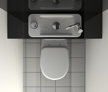 Space Saving Wall Mounted Toilets With Compact Hand Wash