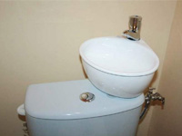 Toilet and small WiCi Mini hand wash basin combination - Ms N (France - 54)