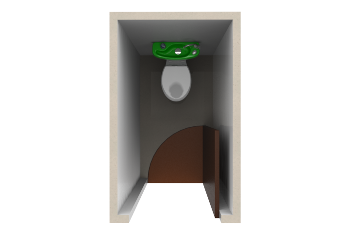 drawing of a toilet room after the of wici concept spacesaving toilets