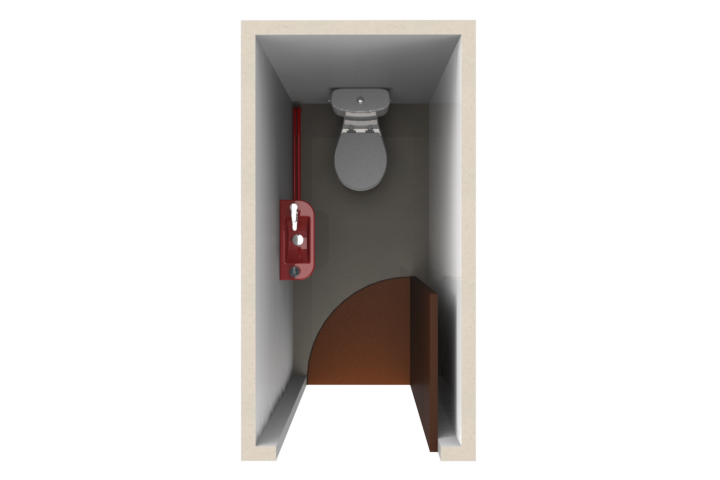 Drawing of a toilet room before the installation of WiCi Concept space-saving toilets